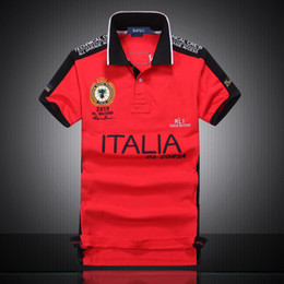 Wholesale Collared Racing Shirts - Super Quality Turn-down Collar 100% Pure Cotton Racing Polo Shirt For Men USA American Flag Italy England Brazil Cotton Shirt