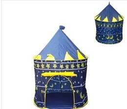 Wholesale Blue Castle Play Tent - Ultralarge Children Beach Tent Baby Toy Play Game House Kids Princess Prince Castle Indoor Outdoor Toys Tents Christmas Gifts
