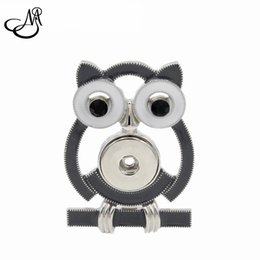 Wholesale Enamel Owl Pin - 10pcs Chunky Snap Button Jewelry Enamel Owl Shape Snaps Brooch Fit 18 20mm Ginger Snaps Buttons Charm MIA062