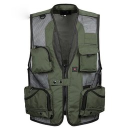 Wholesale Mens Cotton Jacket Grey - Mens christmas equipment cardigan Vests waistcoat plus size XXXL 5XL outerwear clothing photographer sleeveless jacket