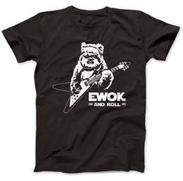 Wholesale Black Star Guitar - Ewok and Roll Guitar Funny T-Shirt 100% Premium Cotton Gift Present Star Short Sleeve 100% Cotton Man Tee Tops T Shirt