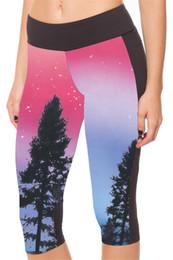 Wholesale Star Legging Pants - Female Yoga Cropped Quick Dry Europe Fashion Legging High Waist Workout Fitness Tight Sports Capri Pants Bottom Slim Red Star Trees LN7Slgs