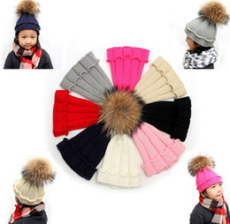 Wholesale Kids Knit Fox Hat - New Winter Children Kids baby Raccoon Fox Fur Hats Knitted Wool Hemming Hat Caps For Boys Girls Toddler bonnet enfant DHL free shipping