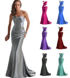 Wholesale Bling Satin Wedding Dresses - 2016 Sexy Strapless Elastic Satin Mermaid Bridesmaid Dresses Bling Sequins Beaded Pleated Wedding Party Dress For Bridesmaids Lace-up Back