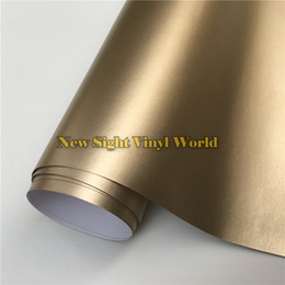 Wholesale Vinyl Wrap Gold Film - High Quality Matte Chrome Metallic Champagne Gold Vinyl Wrap Film Roll Bubble Free For Car Wrapping
