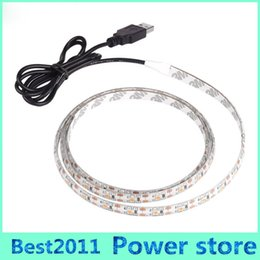 Wholesale Back Light For Car - 5V DC SMD 3528 60leds m Warm Pure Cool White Flexible LED Strip Light with USB For Car Computer Tent TV Back Lighting