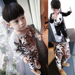 Wholesale Boy Set Winter - New Winter Cute tiger panda Kids Pajamas 2pcs sets Boy Sleepwear Childrens leisure wear Children Outfit Kids Sets Boys Kids Clothes A1227