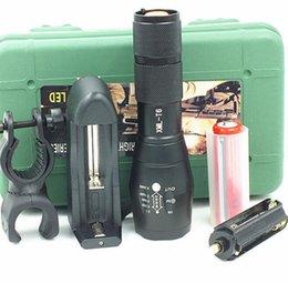 Conjuntos de lanternas táticas on-line-G700 E17 CREE XML T6 2000 Lumens de Alta Potência LEVOU tochas definir Zoomable Tático LED Lanternas tocha de luz para 3xAAA ou 1x18650 bateria