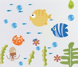 Wholesale Tropical Fish Stickers Decals - 2016 new Tropical Fish Bubble Wall Sticker Kids Room Nursery Kitchen Bathroom Wall Decal Free Shipping