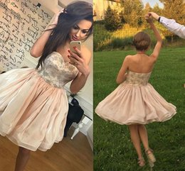 Wholesale Sweetheart Strapless Fit Flare - Ball Gown Fit & Flare Strapless Short   Mini Organza Cocktail Party Prom Dress with Printed