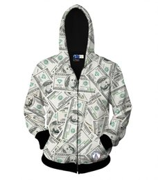 Wholesale Hooded Tops For Women - hot sell zipper jacket for men women hoody 3d sweatshirt print money dollars lovely hooded hoodies autumn tops