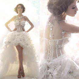 Wholesale Natural Pearls Wedding Necklaces - 2016 Sparkly Luxury High Low Wedding Dress Sexy Bling Beaded Crystal Sheer Sweetheart Ivory A Line Illusion Fur Bridal Dresses No Necklace