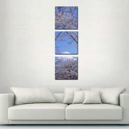 Wholesale Cherry Blossom Canvas Painting - Canvas Print Wall Art Painting For Home Decor Peak Of Mount Fuji With Cherry Blossom Sakura In Blue Sky View From Lake Kawaguchiko