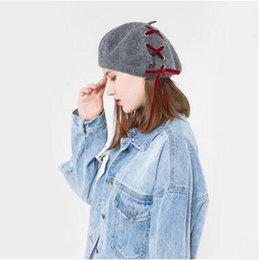 Wholesale Wool Lace Yarn - New Arrival Women's Lace Wool Berets Creative Design Lace Straps Berets Spring Autumn Lady's Elegant Caps Painter Hats Black Red Gray Color