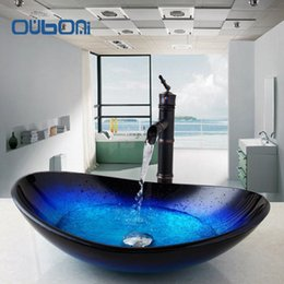 Wholesale Glass Sink Tops - US New Arrival Round Taps Bathroom Glass Basin Sink Faucet Vessel Drain Combo Set Counter Top Water Mixer Vanity Stream Spout