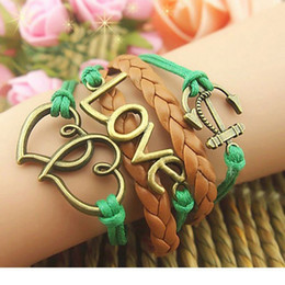 Wholesale Copper Clasps Jewelry Making - wholesale lots 100pcs mix different styles hand made copper alloy and leather Multilayer Retro Vintage Ethnic Tribes Jewelry Cuff Bracelets