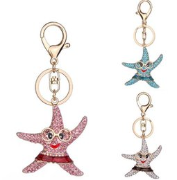 Wholesale Sea Stars Wholesale - Sea Star Lovely Woman Key Chains Fashion Designed Alloy Key Chain with Diamond Car Decorations Pendant Accessories on Bags Special Gift