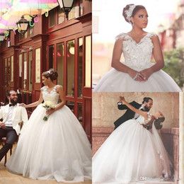 Wholesale Drape Puff - Romantic 3D Floral Lace Appliques V Neck 2016 Plus Size Ball Gown Wedding Dresses Cap Sleeves Backless Floor Length Puff Bridal Gown BA1014