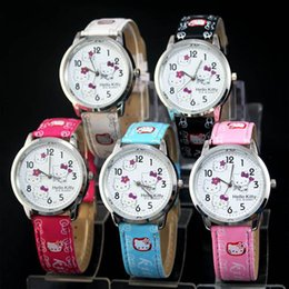 Wholesale New Kitty - Fashion Children students Girl Hello kitty KT cat style Leather strap Quartz Wrist Watch