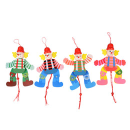 Wholesale funny activities - 1Pcs Cute Wooden Pull String Puppet Clown Toys Children Funny MarionetteClassic Joint Activity Gifts For KidsRandom Styles