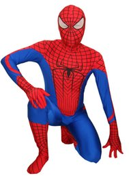 Wholesale Spiderman Latex - Classic Blue & Red Spandex Woman Spiderman Costume Lycra Zentai Suit