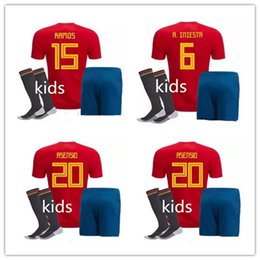 Wholesale Spanish Boys - ASENSIO Morata children's football shirt Spanish shirt kids 2018 children RAMOS Iniesta Jersey 3 sets Top + pants + socks