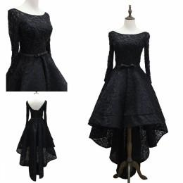 Wholesale Crystal High Low Cocktail Dress - Lace Prom Dresses Long Party Dresses Hi-Lo Ball Gowns Long Sleeves Dresses Evening Wear High Low Little Black Cocktail Dresses 2017