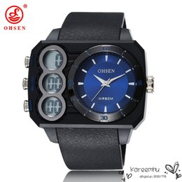 Wholesale OHSEN Brand New Oversized Dial Quart Writwatches m Waterproof Alarm Stop Watches Sports Watch for Men Silicone Strap