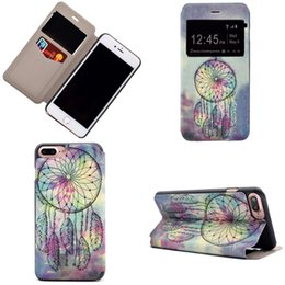 Wholesale Butterfly Galaxy Note Case - For Iphone 7 7plus galaxy Note 7 PU Leather Case Cover butterfly flower skin With Card Slot window view flip cover