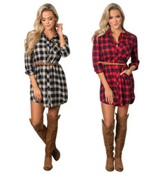 Wholesale Women Red White Plaid Shirt - Women 2018 Vintage White Red Plaid Print Shirt Dress new Sexy Ladies Vestidos Winter Dresses Office Work Wear Free Belt