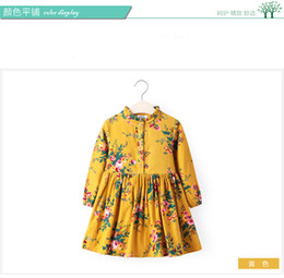 Wholesale Baby Summer Dress Yellow - 2017 Autumn Spring new Cute Baby Girl Dress Cotton Girls Dresses Casual Kids Clothing long sleeve yellow 2t 3t 4t 5t 6t