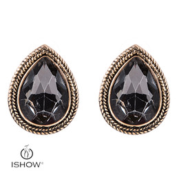 Wholesale Fashion Earrings Stud Vintage - Woman Vintage Wedding Bridel Silver plated Gray Crystal Stud Earrings Heart Teardrop Earrings Fashion Gift Female Jewelry Boucle