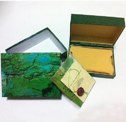 Wholesale English Leather Wholesale - classical Luxury brand watch Mens Watch Box Original Men women Wristwatch gift boxes Green leather box booklet card tags papers in english