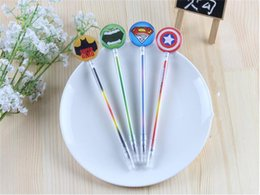 Wholesale Superhero Pens - The Avengers Cute Korea stationery Superhero 0.38mm gel pens black color student Gifts free shipping