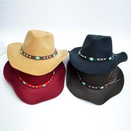 Wholesale Western Cowboy Tie - Autumn Winter Unisex Woolen Western Cowboy Hats with Jewel Belt Buckle Fashion Wide Brim Fedoras Hats Caps for Men Women