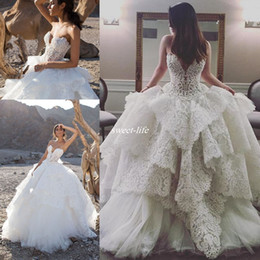 Wholesale Strapless Lace Wedding Dresses Vintage - Strapless Lace Ball Gown with Pearls Beaded Bodice Pnina Tornai Bridal Wedding Gowns 2016 Puffy Skirt Church Train Plus Size Wedding Dresses