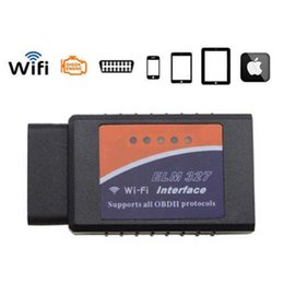 Wholesale Iphone V - Universal ELM327 Wifi Scanner Auto OBD2 Diagnostic Tool ELM 327 WIFI OBDII Scanner V 1.5 V1.5 Wireless For Both iPhone iPad Android Phone