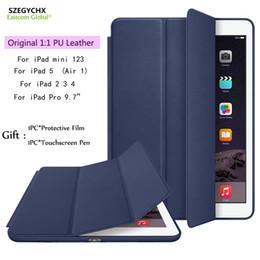 Wholesale Ipad Case Wake - Original 1:1 Ultra Slim Smart Cover For iPad 234 Mini123 Air 1 Pro 9.7 PU Leather Tablet Cases For iPad 5,7.9 inch 9.7 inch Auto Wake Sleep
