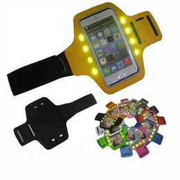 Wholesale Band Iphone Covers - Universal LED Armband Case Adjustable Running Gym Sports Arm Band Phone Bag Holder Pounch Waterproof Covers Cases For iPhone6 6S 6S plus