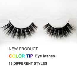 Wholesale Makeup Tips Color - Professional custom Eyelashes Eye Makeup Women Natural Long Handmade Thick colorful lashes 19 Color tip NEW style