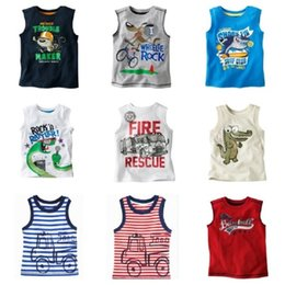 Wholesale Children Singlets - Sleeveless Boys T-shirts Children Tops Singlets Retail kids Vest baby boy top boy clothes summer Tees Shirts