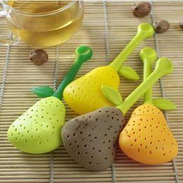 Té de pera online-Silicone Pear Design Tea Leaf Strainer Herbal Spice Infusor Taza de té Teapot Filter # T701