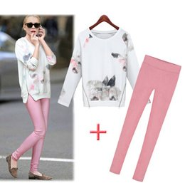 Wholesale Woven Pants - Spring &autumn ladies two-piece Europe fashion new style print long sleeve sweatshirt length pants twinset Women's casual sets