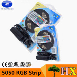 Wholesale Led Smd Rolls - Waterproof IP65 5050 RGB LED Strips Lights SMD 300 LED 60LED M Flexible LED light roll with 44keys Controller +12V 5A power supply