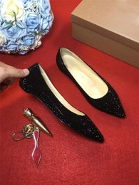 Wholesale Nude Loafer - 2017 Fashion Nude Patent Studded drill Diamond covered Black bright Flats Shoes Ladies shoes, casual shoes no root loafers shoes With Box