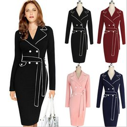 Wholesale Long Sleeve Womens Work Elegant - 2016 Plus Size Dress New Fashion Womens Elegant Party Wear To Work Fitted Stretch Slim Wiggle Pencil Sheath Work Dress