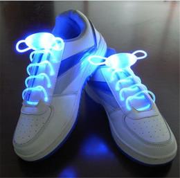 Wholesale Printed Shoelaces Wholesale - 300pcs 10 designs 1pair=2pcs LED Flashing shoe laces Fiber Optic Shoelace Luminous Shoe Laces Light Up Shoes lace D637