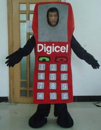 Wholesale Cellphone Costumes - SX0721 a hot sell red cellphone mascot costume can see the face for adult to wear
