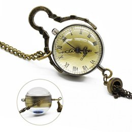 Wholesale Eye Necklace Pendant - Wholesale-Antique Vintage Glass Ball Bull Eye Necklace Pendant Chain Quartz Pocket Watch