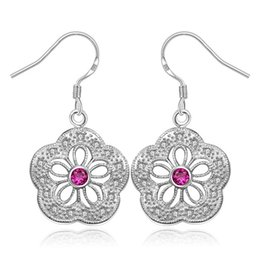 pink gemstones earrings Promo Codes - new arrival flower sterling silver plated jewelry Dangle Chandelier earring for women DE393,popular Pink gemstone 925 silver earrings